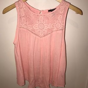 light pink tank top with lace detailing