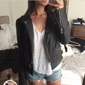 MUUBAA leather biker jacket w zippers