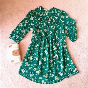 New chiffon green tunic shirt dress with flowers