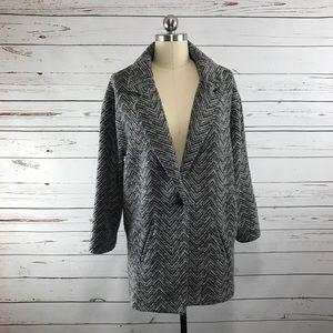 American Eagle Knit Sweater Car Coat Herringbone