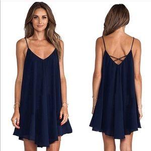 "Dresses & Skirts - ""Julia"" II Navy Chiffon Criss-Cross Dress"