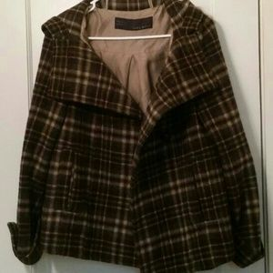 Zara Basic Plaid Peacoat