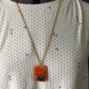 Orange and blue stone shape necklace