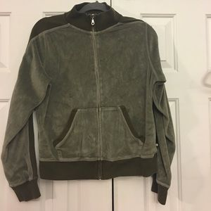 💝 Lucky Brand Velour Type Jacket zippered green L