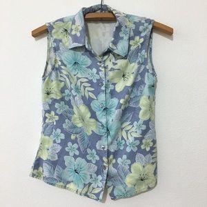 Tommy Bahama Silk Blue Hawaiian Floral Blouse XS