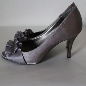 Silver Ruffle Ribbon Open Toe Satin High Heels