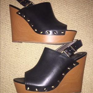 Faux leather wedges!