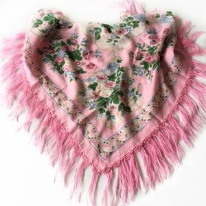 Pink fringe scarf. Russian Floral scarf