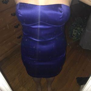 Strapless Cobalt Blue Mini Dress