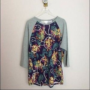 Lularoe Randy Tee 3/4 Sleeve Top Shirt Floral 3XL
