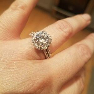 Floating Halo Diamond Engagement Ring