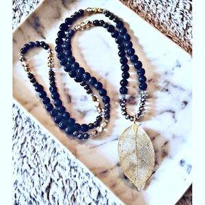 Lava Rock Golden Leaf Necklace