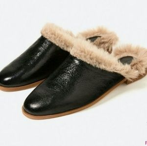 Preowned Zara Leather Faux Fur Slip Ons
