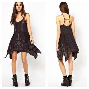 Free People wash black meadow slip dress