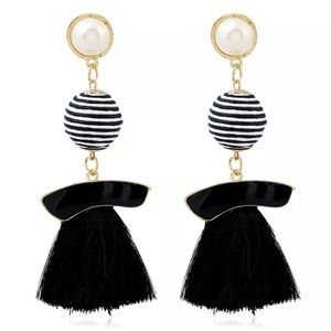 Elegant Black Striped Tassel Earrings