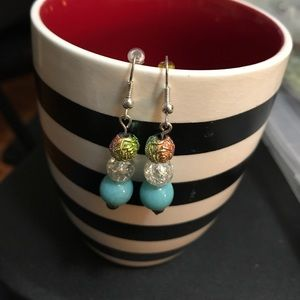 Blue and multi colored handmade earrings