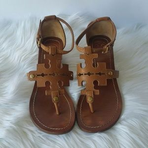 Tory Burch Chandler Brown Wedge Leather Sandals