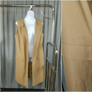 Camel Long Duster Layering Vest