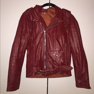 Genuine leather red leather motorcycle jacket xs