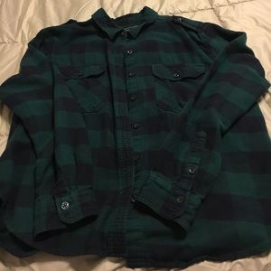 Flannel button down green and blue plaid