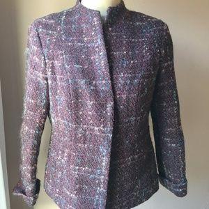 Barry Bricken Cassis Mohair Wool Tweed Blazer 12