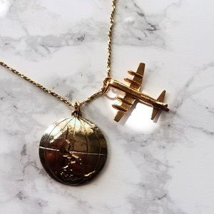 Wanderlust Airplane Globe Gold Charm Necklace