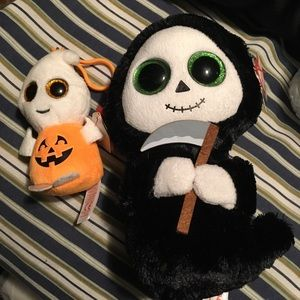 Ty halloween plushs grim reaper and ghost keychain