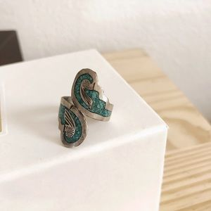 Sterling Silver Navajo Stamped Turquoise Ring