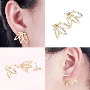 Flower Petal Bottom Ear Jacket Bar Stud Earrings