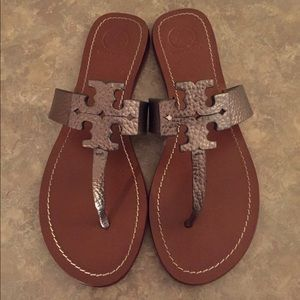 Tory Burch Pewter Leather Sandals Size 9