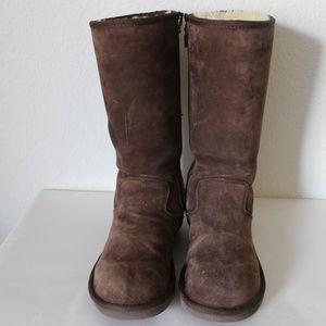 Ugg Sumner Tall Chocolate Boots Suede Zipper