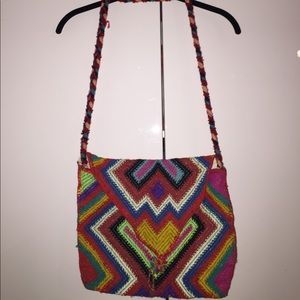 Colorful vintage braided woven purse