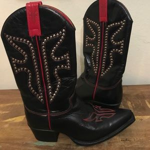 GREAT COND FRYE BOOTS SZ 6 BLACK & RED