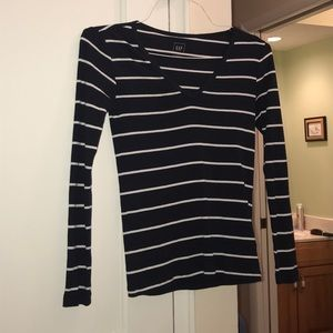 Long Sleeve Striped V Neck