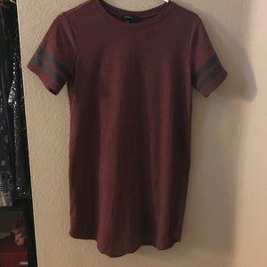 Maroon color shirt sleeve dress
