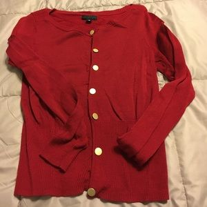 Red cardigan w/gold buttons