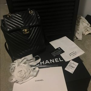 Chanel Urban Spirit Backpack Chevron Black/Gold SM