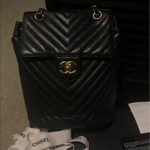 4617e7badf17 CHANEL Bags | Urban Spirit Backpack Chevron Blackgold Sm | Poshmark