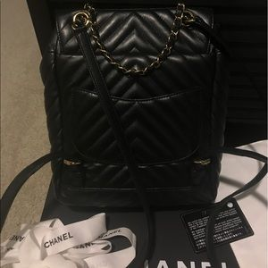 4617e7badf17 CHANEL Bags | Urban Spirit Backpack Chevron Blackgold Sm | Poshmark