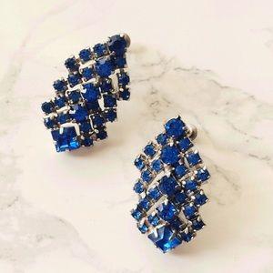 Vintage Blue Crystal Cluster Statement earrings