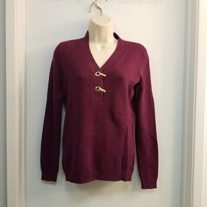 Pullover Knit Sweater Wine Burgundy PP