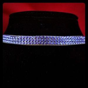 Swarovski purple crystals choker necklace