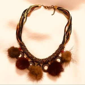 Genuine MINK Necklace with Mirror Charm Detail!