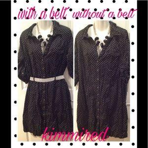 Merona Black/White Polka Dot Shirt Dress ~ XXL