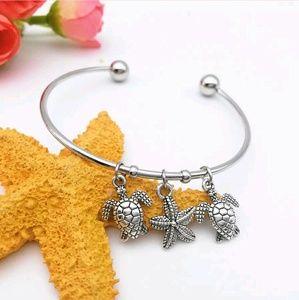 Wild Starfish, Tortoise Antique Silver Bracelet