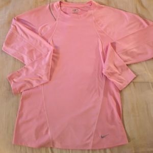Nike dry fit pink long sleeve top SZ M