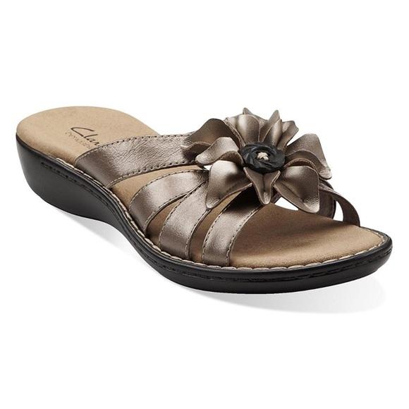 clarks bendables sandals pewter