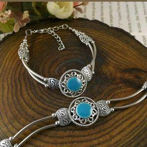 """TWO""--Tibet silver jade turquoise bead bracelet"