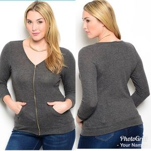 Grey plus size sweater top