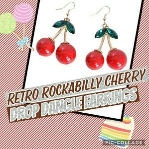 Retro Rockabilly Cherry Drop Dangle Earrings